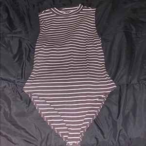 Brown striped body suit